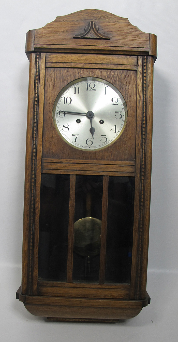 Antique german 8 day wall clock oak arts crafts for Arts and crafts style wall clock